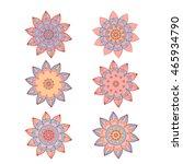 set of flower ornaments.... | Shutterstock .eps vector #465934790