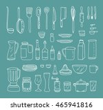 a set of kitchen objects vector ... | Shutterstock .eps vector #465941816