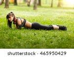 young woman with headphones in...   Shutterstock . vector #465950429