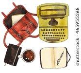 coffee cup  notebook  pen ... | Shutterstock . vector #465955268