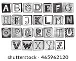 hand drawn fancy alphabet on... | Shutterstock .eps vector #465962120
