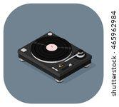 Retro Record Player Icon. Dj...