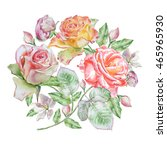 floral card with flowers. rose. ... | Shutterstock . vector #465965930