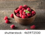 ripe fresh sweet raspberries in ... | Shutterstock . vector #465972530