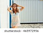 young cute girl  wearing a... | Shutterstock . vector #465972956