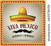 viva mexico sombrero and...   Shutterstock .eps vector #465978434