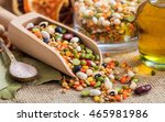 mixed raw legumes  pulses in a... | Shutterstock . vector #465981986