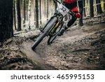cyclist mountainbiker rides in... | Shutterstock . vector #465995153
