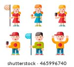set of happy children. funny... | Shutterstock .eps vector #465996740