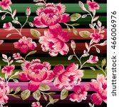 seamless pattern of peonies on... | Shutterstock .eps vector #466006976