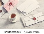 letters with seal on table | Shutterstock . vector #466014908