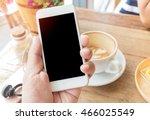 hand using mobile smartphone in ... | Shutterstock . vector #466025549