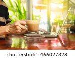 businesswoman using smartphone... | Shutterstock . vector #466027328