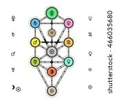 astrological tree of life... | Shutterstock .eps vector #466035680