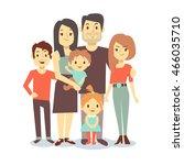 cute cartoon family vector... | Shutterstock .eps vector #466035710