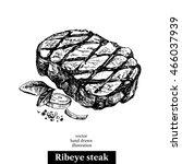 hand drawn sketch ribeye steak. ... | Shutterstock .eps vector #466037939