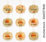vintage autumn sale sticker... | Shutterstock .eps vector #466057868