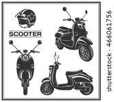 set of classic scooter emblems  ... | Shutterstock .eps vector #466061756