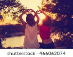 girl friends making a heart... | Shutterstock . vector #466062074