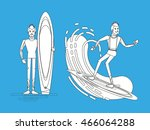 cool vector surfer character in ... | Shutterstock .eps vector #466064288