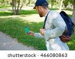 gamer in park | Shutterstock . vector #466080863