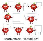 set of cartoon red apple... | Shutterstock .eps vector #466081424