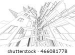 perspective 3d wireframe of... | Shutterstock .eps vector #466081778