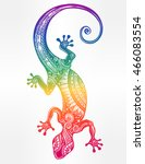 ornate gecko lizard in in... | Shutterstock .eps vector #466083554