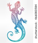 ornate gecko lizard in in... | Shutterstock .eps vector #466083584