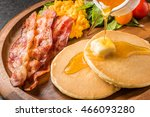 pancake and bacon and egg | Shutterstock . vector #466093280