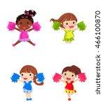 cheerleaders with pom pom | Shutterstock .eps vector #466100870