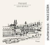 prague skyline  czech republic  ... | Shutterstock .eps vector #466110284
