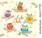 Set Of Cute Owls On Branch In...