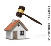 judge's gavel over a house ... | Shutterstock . vector #46613596