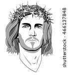 jesus christ  a black and white ... | Shutterstock . vector #466137848