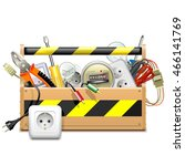 vector toolbox with electric... | Shutterstock .eps vector #466141769