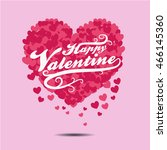 happy valentine logo with red... | Shutterstock .eps vector #466145360