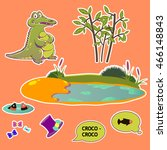 funny crocodile set of stickers ... | Shutterstock .eps vector #466148843
