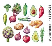 set of watercolor vegetables.... | Shutterstock . vector #466149296