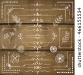 decorative white rustic floral... | Shutterstock .eps vector #466151534