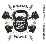two barbell and head gorilla... | Shutterstock .eps vector #466155860