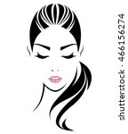 women long hair style icon ...   Shutterstock .eps vector #466156274