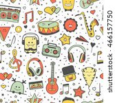vector musical pattern  doodle... | Shutterstock .eps vector #466157750