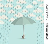 umbrella over rain. rainy... | Shutterstock .eps vector #466167290