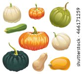 Pumpkins And Squashes. Set Of...