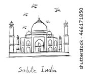 drawing sketch of taj mahal... | Shutterstock .eps vector #466171850