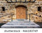 wooden ancient  door and stone... | Shutterstock . vector #466183769