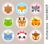 Stock vector set of cartoon sticker with baby animals birthday cards with animals in cartoon style vector 466188029