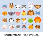 Stock vector big vector set with animal faces collection of cute baby animals in cartoon style on a blue 466191026
