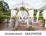 beautiful white arch and decor... | Shutterstock . vector #466194038